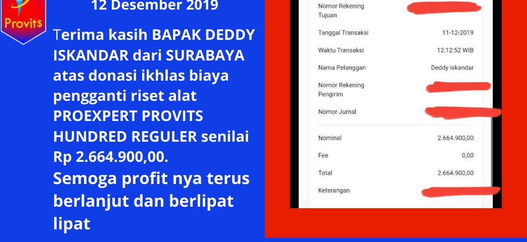 Bapak deddy iskandar dari surabaya telah donasi ikhlas